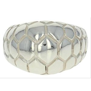 Sterling silver crocodile textured dome ring